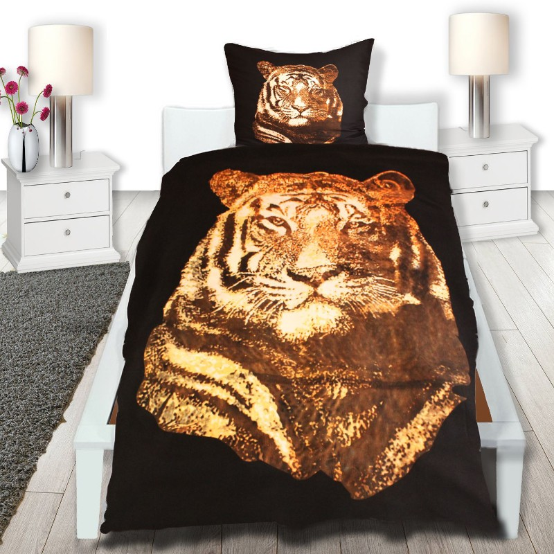 2 tlg microfaser bettw sche tiger 135x200 neu mit rv beste qualit t ebay. Black Bedroom Furniture Sets. Home Design Ideas