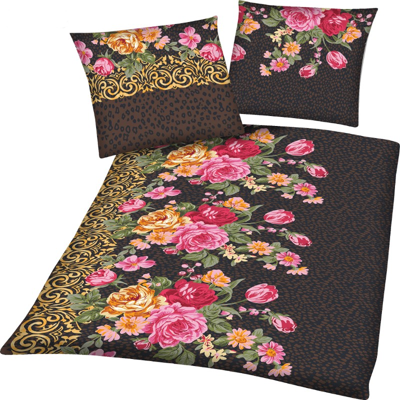 8 teilige microfaser bettw sche mit spannbettlaken 135x200 80x80 blumen ebay. Black Bedroom Furniture Sets. Home Design Ideas
