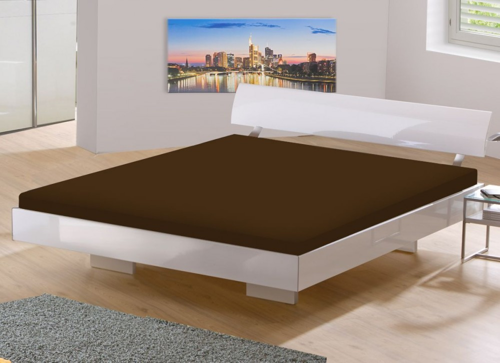 wasserbett microfaser laken jersey spannbettlaken spannbetttuch 200x220 braun ebay. Black Bedroom Furniture Sets. Home Design Ideas