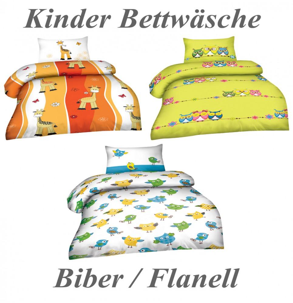 kinder baumwolle biber flanell bettw sche mit rei verschluss 100x135 40x60 cm ebay. Black Bedroom Furniture Sets. Home Design Ideas